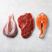 Raw food turkey meat, beef meat and Salmon oily fish steak