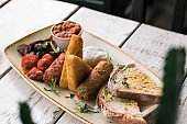 Cooked breakfast vegetarian options at trendy hipster restaurant high end