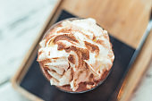 hot chocolate with cream on top