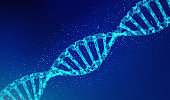 DNA, helix model in healthcare and medicine and technology concept on blue background, 3d background illustration