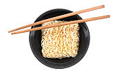 Noodles in bowl with chopsticks isolated on white background.Instant noodles background