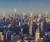 Map pin flat of smart city, global business and network connection concept, Bangkok, Thailand