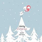 Merry christmas card with bird