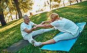 Senior couple doing sport outdoors