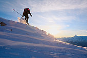 Woman skier skiing at  ski resort Amateur Winter Sports