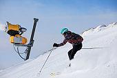 Woman skier skiing at sunny ski resort Amateur Winter Sports