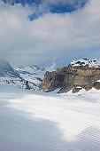 High mountain snow winter landscape Tignes ski resort in Alps Mountains France