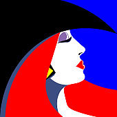 Bright fashion girl in the style of pop art. Vector graphics.