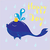 A happy whale in the crown wishing for a good day.
