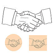 Businessmen shake hands silhouette vector illustration. Partnership handshake concept poster in comic design
