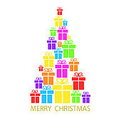 Merry Christmas tree with colorful gift boxes on white background for your card design, stock vector illustration, eps 10