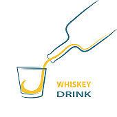 whiskey glass bottle shot splash menu, stock vector illustration