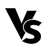 VS versus letters vector logo icon isolated on white background. VS versus symbol for confrontation or opposition design concept