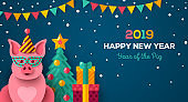 Happy New year night with pig