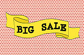 Ribbon banner with text Big Sale for emotion and motivation