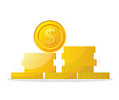 Money icon on white background. Coins vector illustration in flat style. Icons for design, website