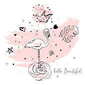 Tropical flamingo illustration card