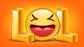 Lol Sign Vector. Fun Symbol. Emotion Smile. Facial Expression. Illustration