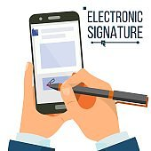 Electronic Signature Smartphone Vector. Businessman Hands. Digital Sign. Business Agreement. Electronic Document. Isolated Flat Illustration