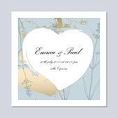 Trendy Romantic Elegant wedding pastel blue Gold Cards