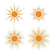 Set of vector sun icons with dotted rays. Star burst set, beams of halftone. Round shapes template, radial circles. Projectors, soffits isolated on white background.