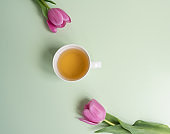 Pink tulips with herbal tea and copy space on green background