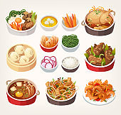 Korean food dishes.
