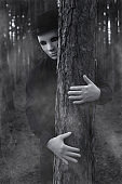 Mysterious man in the forest