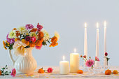 still life with  chrysanthemum and candles