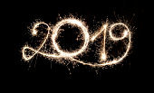 Sparkler New Year 2019 With Copy Space