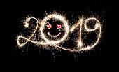 Sparkler New Year 2019 With Emoji, Emoticon, Smiley