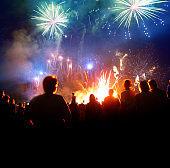 Firework Display With Celebrating People