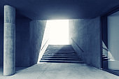 Underpass and concrete stairs in the city - Stairs light concept