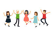 Vctor illustration set funny kids jumping on a white background. Children have fun together. Friends teens.