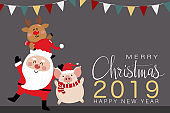 Merry Christmas greeting card with Santa Clause, deer and piggy. 2019 year of the pig. Cute animal holiday cartoon character vector.