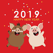 2019 Happy new year greeting card. Cute pig and boar in a party vector. Christmas holidays cartoon character.