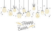 Easter eggs composition. Colorful linear icons on white background. Hanging Easter ornamental eggs. Happy Easter greeting card.