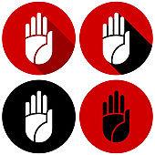 Hand Icon Vector Ban Stop Warning