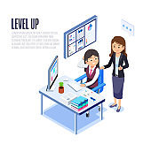 Woman Work to achieve the goals of the company and Receive Admiration from the Boss. Employees must develop their own skills regularly.