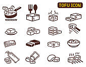 Cooking Tofu icon collection. Asian Cuisine ingredient.