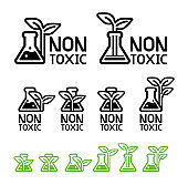 Green care and non-toxic from science technology(icon concept).