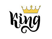King lettering hand drawing. Written word and illustration crown