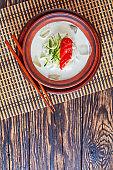 kongguksu - cold korean soup, top view