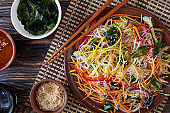 asian style vegetable salad, top view