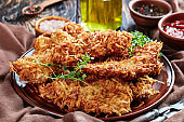 close-up of deep fried meat chops