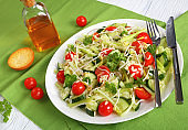 fresh pasta salad on a plate, close-up