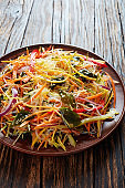 asian style thin sliced vegetable salad