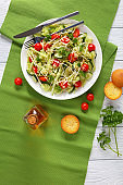 macaroni salad with sprouts and veggies