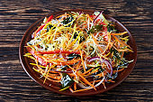 close-up of asian style vegetable salad