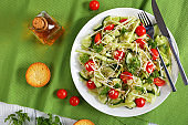 risoni salad with sprouts and veggies